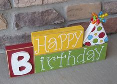 HAPPY BIRTHDAY BLOCKS with birthday hat for table decor, desk, shelf, mantle, and party decor on Etsy, $22.95
