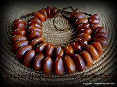 Old Traditional Tibetan Rich Dark Golden Brown Cognac Amber Resin 21  Bead Tribal Ethnic Statement Necklace Imported From Kathmandu