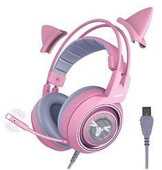 Pink Headphones, Gaming Headphones, Gaming Headset, Over Ear Headphones, Cat Ear Headset, High Quality Speakers, Metal Clock, Surround Sound, Earmuffs
