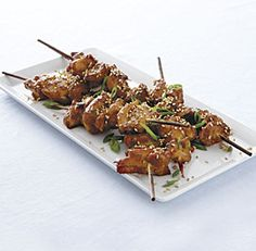 Sweet and Spicy Sesame Chicken Kebabs  ~ A great hors d'oeuvre, the kebabs are also delicious for dinner, served with rice and seared baby bok choy. If using wooden skewers, soak them for at least 20 minutes before threading.  Serves 4 as a main course, 6 as an appetizer