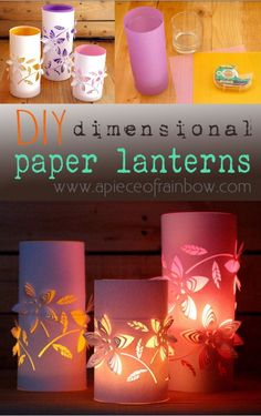 These beautiful Dimensional Paper Lanterns are made with 3 things EVERYONE has! FREE template to make for your home. - via A Piece Of RainbowBeautiful dimensional paper lanterns to decorate an aisle, tables, walkway, etc. Diy Projects To Try, Crafts To Do, Craft Projects, Paper Crafts, Diys, Wedding Lanterns, Creation Deco, Kirigami, Diy Art