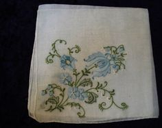 Great Vintage Embroidered Handkerchief   Hanky   Shadow Work Embroidery   Hand Finished Edge