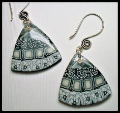 Black & White Mosaic Earrings polymer clay jewelry by BeadazzleMe, $8.00