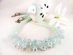 Teardrop Bead Kumihimo Braid Necklace Ice Blue Pale by JewelrybyPJ