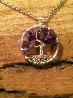 Petite Tree Of Life Necklace Amethyst Pendant On by Just4FunDesign, $22.00