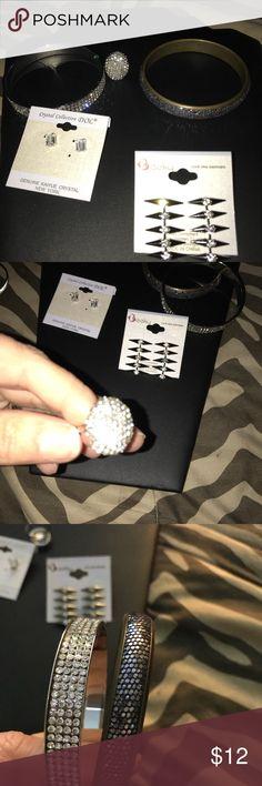 5 pc jewelry Lot New 5 pc Jewelry Lot all brand new  Rhinestone ring Sz 7  Rhinestone bracelet  Purple /black rhinestone bracelet  Silver earrings  Cz earring Jewelry Bracelets
