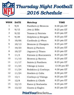 NFL Thursday Night Football Schedule 2016 - Printable