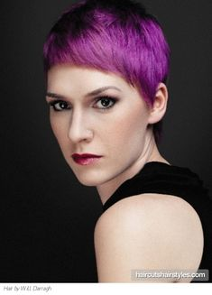 Short Purple Pixie Haircut