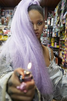 Rihanna Color Purple Hair