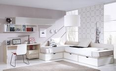 Corner Twin Beds with Table Corner Twin Beds, Bed In Corner, Girl Room, Girls Bedroom, Guest Room Office, Shared Rooms, Bed Storage, Storage Drawers, Kid Beds