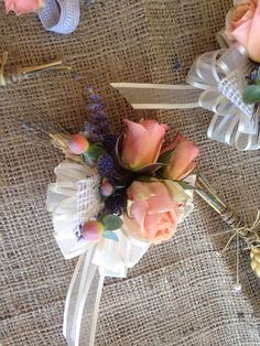 Lavender and wheat corsages MindisFloral.com