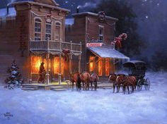 Christmas - The Old West Art of Jack Sorenson Christmas Scenes, Christmas Art, Vintage Christmas, Christmas Cookies, Christmas Graphics, Christmas Holidays, Christmas Ideas, Cowgirl And Horse, Cowboy Art