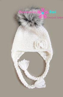 Caciula crosetata cu mot de blana by Anamaria Ami crochet hat  fur pom pom