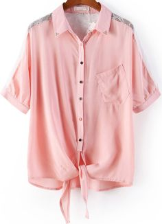 Pink Lapel Contrast Lace Pocket Blouse EUR€15.97