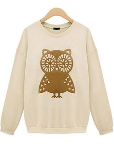 Beige Long Sleeve Owl Print Sweatshirt