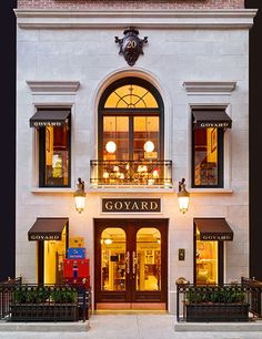 """""""AD Tours Goyard's New York Outpost,"""" Architectural Digest May Goyard, the venerable French maker of luggage and handbags, opens a Manhattan flagship in a gracious Upper East Side townhouse Design Shop, Store Design, House Design, Shop Front Design, Building Facade, Building Design, Building Exterior, Architectural Digest, Design Garage"""