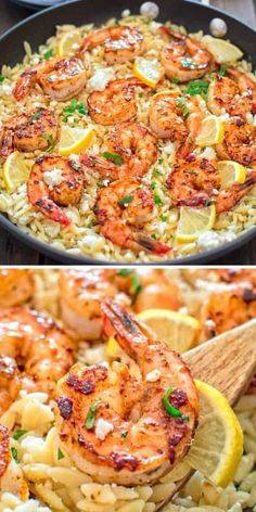 Orzo Recipes, Shrimp Recipes For Dinner, Shrimp Recipes Easy, Fish Recipes, Seafood Recipes, Crockpot Recipes, Cooking Recipes, Healthy Recipes, Recipes For One