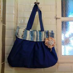 sac tendance, de forme sac bandeau bleu : Sacs à main par a-fleur-2-pots