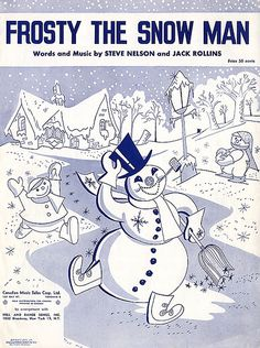 Classic 1950 Frosty The Snowman Piano Sheet Music Score by Seve Nelson, Jack Rollins