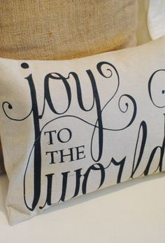 Image of Joy to the World 12x16 Pillow Cover in Black