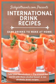 15 Delicious drink recipes from around the world including both alcoholic and non-alcoholic drinks. #recipes #drinkrecipes #internationaltravel #travelblogger #spoonieblogger Easy Drinks To Make, Easy Drink Recipes, Alcohol Drink Recipes, Fancy Drinks, Cocktail Drinks, Cocktail Recipes, Healthy Cocktails, Non Alcoholic Drinks, Refreshing Drinks