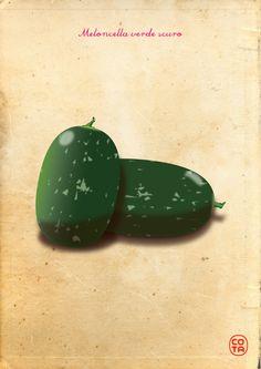 meloncella verde scuro, ortaggi, illustrazione, arte digitale - dark green meloncella, vegetables, illustration, digital art