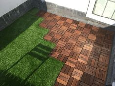 Roof terrace with ikea decking tiles and Oakham artificial grass 3 ...