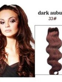 22 Inches Wavy Dark Auburn  #33  Remy Human Hair Extensions