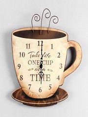 Rustic Wood Coffee Wall Clock