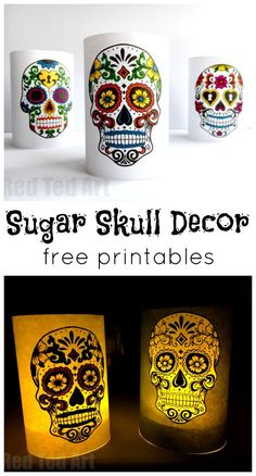Paper Day of the Dead Luminaries - a great 5 minute craft. Have these Day of the Dead Sugar Skull Luminaries made in minutes. Either colour yourself, or use the coloured versions, for a super quick and easy Halloween decoration. LOVE THESE.