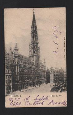 BELGIUM POSTCARD stamp y1900 BRUXELLES HOTEL DE VILLE BELGIQUE BELGIE BRUSSELS