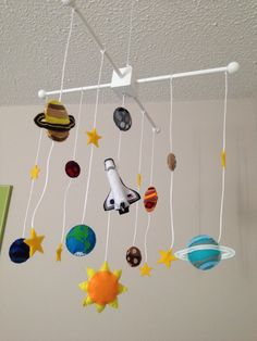 Nursery Decor/Art: DIY Handmade Felt Solar System & Space Shuttle Mobile (Baby Boy's Retro Rocket & Robot Nursery). Inspiration/Tutorial was found here: http://www.craftinessisnotoptional.com/2012/07/up-up-and-away-mobile-tutorial-and.html