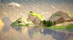 Hudson River School of Low Poly Landscape Illustration, Landscape Art, Falling Water Architecture, Lowpoly Art, Low Poly Games, Hudson River School, Polygon Art, Isometric Art, Low Poly Models