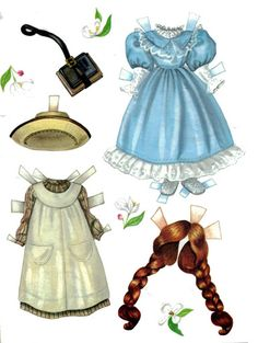 Here is a two page magazine paper doll named Anne by Lee Collins from Doll Reader She has three dresses, two hats, 1 extra hairstyle and two purses. I really love paper dolls of dolls and the extra hairstyle is very Paper Cutting, Missing Missy, Paper Art, Paper Crafts, Paper Dolls Printable, Paper People, Bobe, Moda Vintage, Vintage Paper Dolls