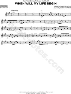 """When Will My Life Begin"" from 'Tangled' Sheet Music (Violin Solo) - Download & Print"