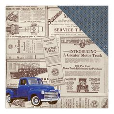 Authentique Paper - Rugged Seven Old Truck Newspaper/Celtic Geometric