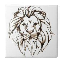 Shop brave lion design Tile created by L_I_F_E. Tribal Tattoos For Men, Tattoos Skull, Cute Tattoos, Sleeve Tattoos, Tattoos For Women, Hand Tattoos, Awesome Tattoos, Small Lion Tattoo For Women, Tatoos