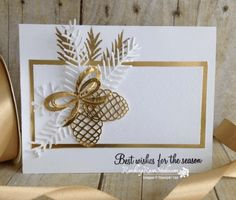 Gold Elegance... Rambling Rose Studio Billie Moan Stampin' Up! Christmas Pines and Holly Berry Happiness, Gold Embossing Powder, Pretty Pines Thinlits
