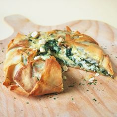 Philo Pie with spinach, goat cheese and walnuts. Add some Panchetta for a new spin!