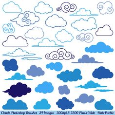 Clouds Photoshop Brushes Weather Photoshop Brushes by PinkPueblo, $8.00