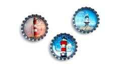Magnete mit Leuchtturm aus Briefmarken von NOKOKOLORES auf DaWanda.com