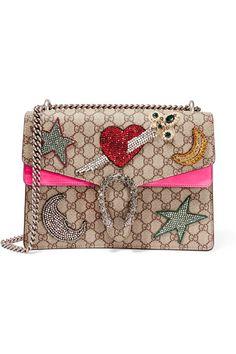 Gucci   Dionysus large embellished coated-canvas and suede shoulder bag…
