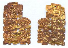 """""""Feathered Serpent Ornament"""" (ca. 11th-15th century). Hammered gold. Mexico, Mesoamerica, Aztec or Toltec. Posted on metmuseum.org."""