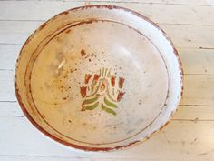 Antique Hand Painted Pottery Bowl from Turda/Torda Transylvania. Old, old...we estimate ~1910-1930 or older...Beautiful addition to any modern, cottage, barn design home decor too.