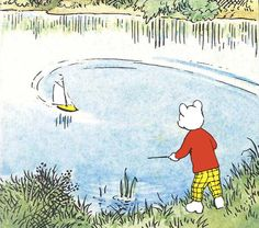 Rupert Bear sails his boat