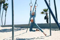 muscle beach model 90s comeback girl high waisted jeans leather crop top venice beach california