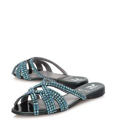 964316588 Gina Olson Jewelled Sandals Blue