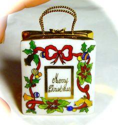 French Christmas Shop Gift Bag Purse Limoges Trinket Pill Box Peint Main Limoge
