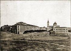 la calle Princesa y el Paseo de Areneros. A la izquierda las fachadas de Pozas y a la derecha el Buen Suceso.