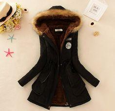 Women's Thick Military Jacket Faux Fur Hood Long Winter Coat ...